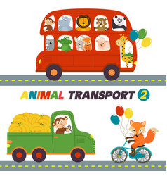 set of isolated transports with animals part 2 vector image