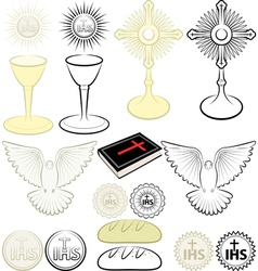 symbols of Christianity vector image vector image