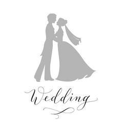Wedding design concept bride and groom vector