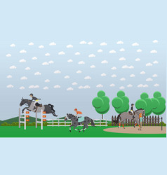 equestrian show jumping flat vector image vector image