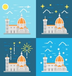 Flat design of cathedral of Florence Italy vector image vector image