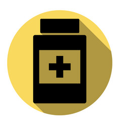 medical container sign flat black icon vector image