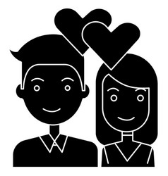 couple in love - hearts icon vector image vector image
