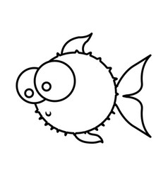 monochrome silhouette of blowfish with big eyes vector image vector image
