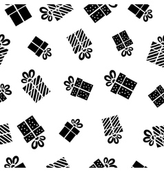 Seamless Gift pattern black gift boxes on white vector image vector image