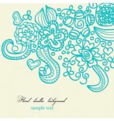 floral doodles background vector image