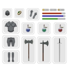 Game inventory Warrior knight set 2 vector image vector image