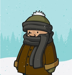 outside winter kid vector image vector image