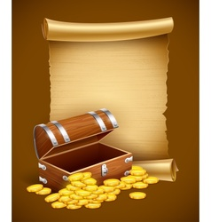 Pirate treasures in trunk and vector image vector image