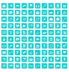 100 internet marketing icons set grunge blue vector image