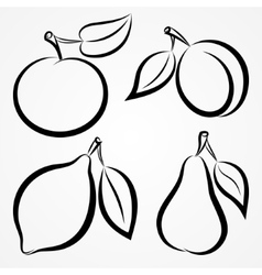 Abstract hand-drawn silhouettes of fruits vector