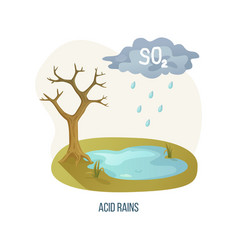 Acid rains tree with cloud and dangerous liquid vector