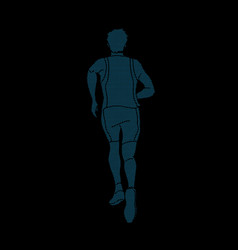 Athlete runner running back view vector