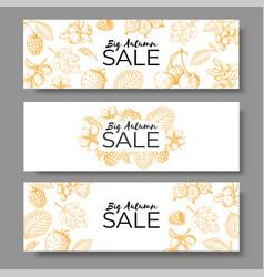 autumn sale banner set voucher offer or coupon vector image