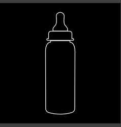 Baby bottle symbol white color path icon vector