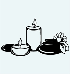 Basalt stones flower and candles vector