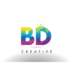bd b d colorful letter origami triangles design vector image