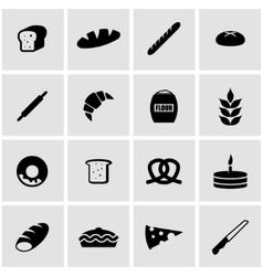 black bakery icon set vector image