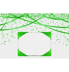 blank card with confetti and ribbons vector image