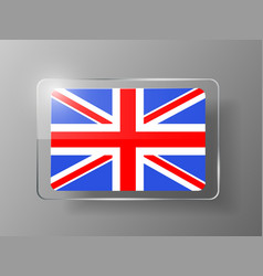 British Flag Glossy Button vector image