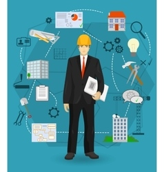 Builder man manager worker concept with flat icons vector image