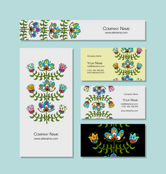 Business cards design folk style floral vector