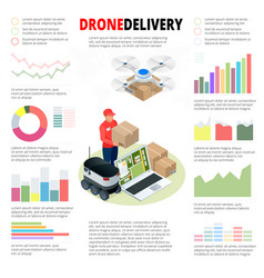 Business infographics drone fast delivery of goods vector