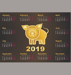 Calendar year golden pig 2019 happy chinese new vector