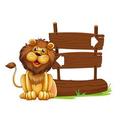 Cartoon lion signboard vector