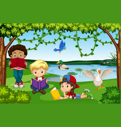 Children reading books in nature vector