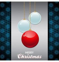 Christmas baubles over brushed metallic panel with vector image