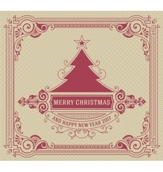 Christmas Card with tree and floral ornaments vector image