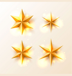 christmas golden stars set vector image