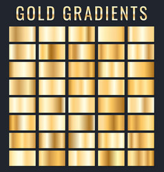 collection of golden metallic gradient brilliant vector image