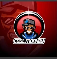 cool monkey esport mascot logo vector image