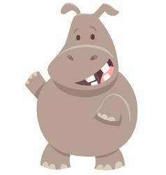 Cute cartoon hippopotamus animal character vector