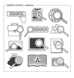 data finding search isolated icons magnifying vector image