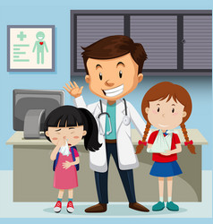 Doctor and children at hospital vector