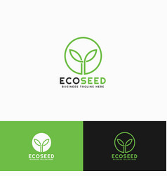eco seed - litle plant logo template vector image