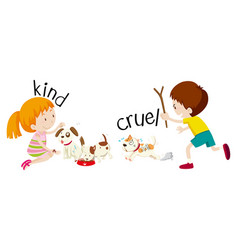 english opposite word kind and cruel vector image