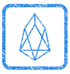 Eos currency framed stamp vector