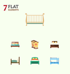 Flat set of hostel furniture bed and othe vector