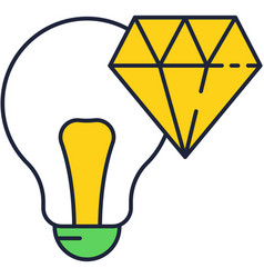 Fresh brilliant idea icon gem lightbulb vector