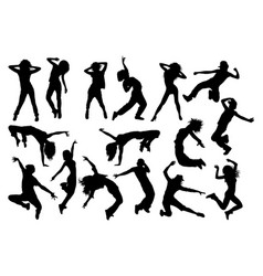 Fun hip hop sexy dancer silhouettes vector