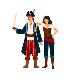 funny pirate couple at costume party flat vector image