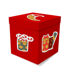Gift box for christmas stickers surprises and the vector