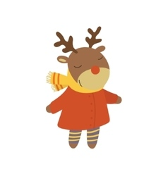 Girl Deer In Red Warm Coat Childish vector image