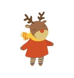Girl Deer In Red Warm Coat Childish vector