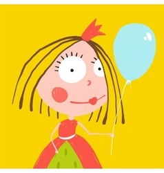 Girl Princess with Balloon and Crown in Beautiful vector image