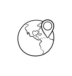 globe with pointer mark hand drawn outline doodle vector image
